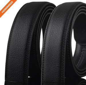 Mens Split Leather Black Ratchet Leather Strap Embossed Logo Belts
