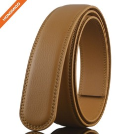 Khaki Color Businessmen Style Genuine Leather Ratchet Belt Strap