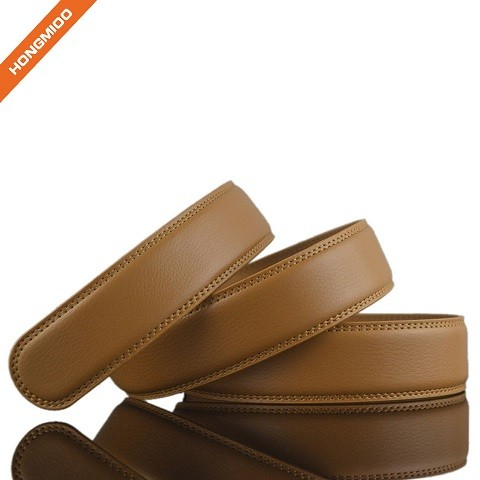 Khaki Color Businessmen Style Genuine Leather Ratchet Belt Strap