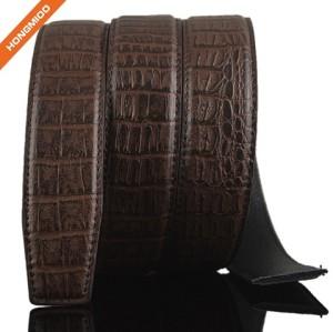 Business Style Embossed Crocodile Mens Genuine Leather Adjustable Ratchet Belt Strap