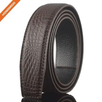 Luxury Mens Split Leather No Buckle Belt Slide Ratchet Automatic Straps
