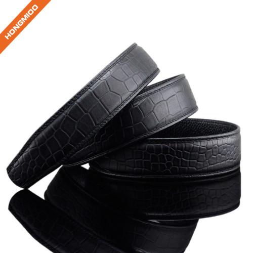 Mens Luxury Crocodile Pattern Top Grain Leather Belt Strap