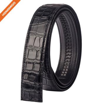 Mens Delicate Crocodile Pattern Top Grain Leather Ratchet Belt Strap