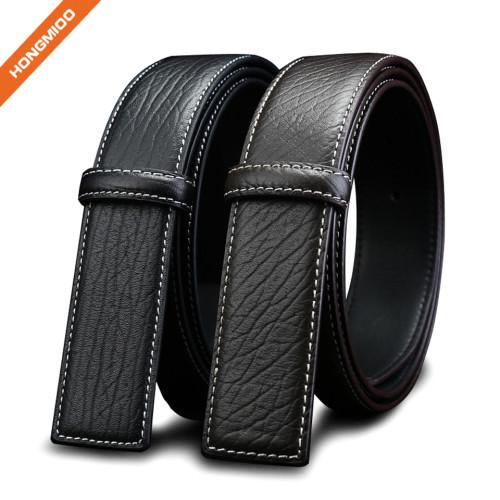 Black Men Top Layer Leather Belt Straps Custom Logo