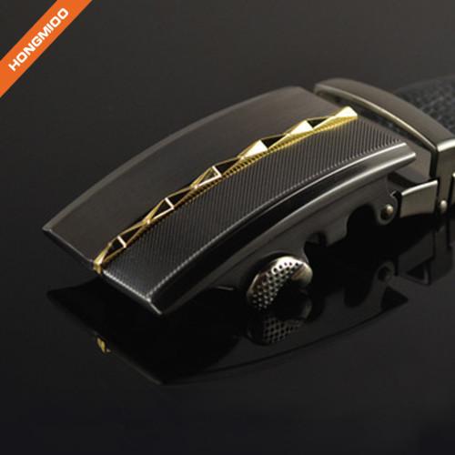 3.5cm Black Color Cowhide Leather Ratchet Belt For Men