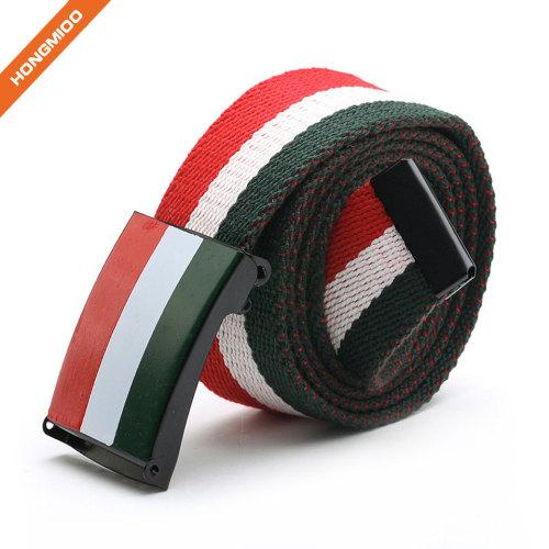 Flip-Top Buckle Multiple Color Fabric Canvas Belt For Men