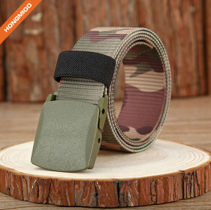 Camouflage color Nylon/Canvas Belt with Plastic Belt Buckle