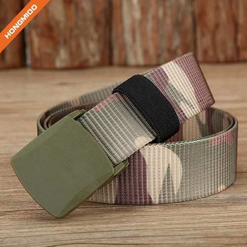 Camouflage color Nylon/Canvas Belt with Plastic Belt Buckle