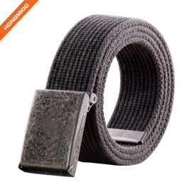Flip-Top Metal Buckle 100% Cotton Strap Men's Canvas Belt