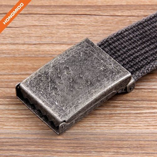 Flip-Top Metal Buckle 100% Cotton Strap Men's Canvas Belt