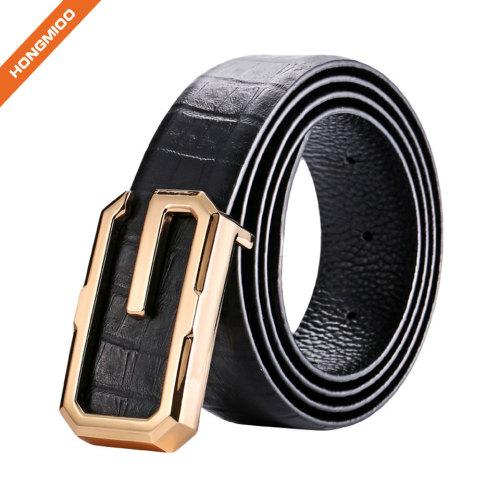 Mens Black Textured Plate Buckle Belt Luxury Top Grain Leather Strap