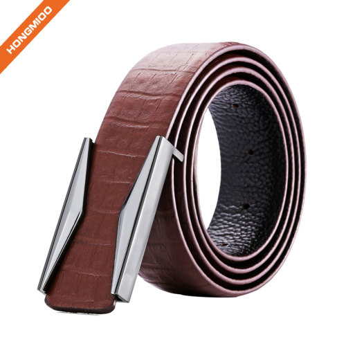 Nickel Free Plate Buckle Strap Cut-to-Fit Top Grain Cowhide Plain Leather Belt