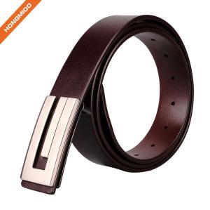 Soft Hand Vintage Cowhide Leather Embossed Pattern Plate Buckle Belt