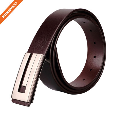Soft Hand Vintage Cowhide Leather Embossed Pattern Plate Buckle Belt
