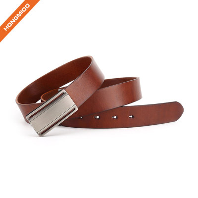 Plain Solid Brown Cowhide Leather Mens Custom Design Plate Pin Buckle Belt