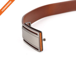 Plain Solid Brown Cowhide Leather Mens Custom Design Plate Pin Buckle Belt