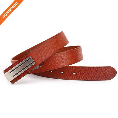 Vintage Retro Stitching-Edged Distressed Solid Full Grain Leather Belt