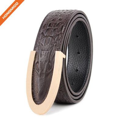 Cowhide Rectangular Solid Leather Mens Embossed Crocodile Belt