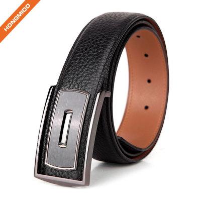 Full-Grain Leather Belts 38mm Zinc Alloy Plate Buckle Mens