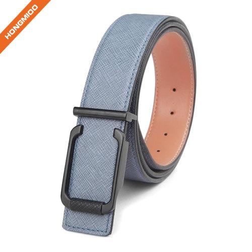 Men's Light Blue Metal Plate Genuine Leather Belt Adjustable Full Grain Leather Strap