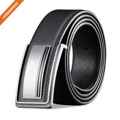 Mens Plain Black Full-Grain Real Leather Belt Durable Plate Buckle