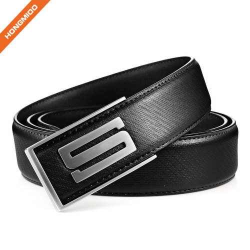 Mens Plain Black Full-Grain Real Leather Belt Durable Plate Buckle