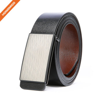 Retro Mens Premium Quality Full Grain Leather Belt With Silver Plate Buckle Belt