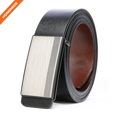 Genuine Leather Dress Belt for Men Reversible Belt with Matte Plaque Buckle