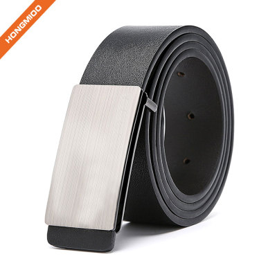 3.5cm Wide High Quality Silver Finish Plate Buckle Custom Top Grain Leather Belts