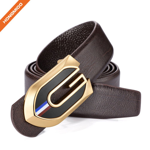 Men's Custom Design Full Grain Leather Business Plate Belts with Zinc Alloy Buckle