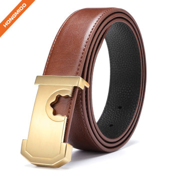 Men's Lines Gold Finish Plate Solid Buckle Genuine Cow Skin Leather Belt