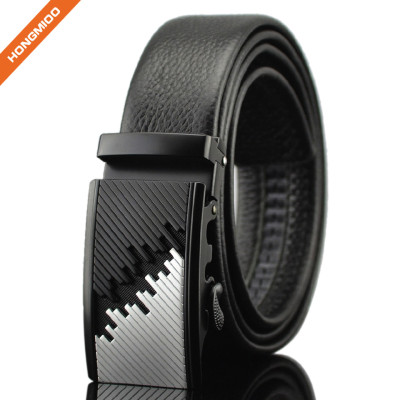 3.5cm Wide Men's Black Automatic Ratchet Leather Belt