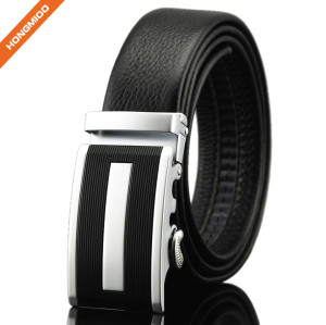 3.5cm Wide Men's Black Automatic Ratchet Leather Belt