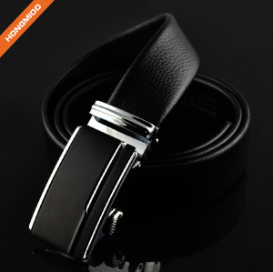 Simple Design 35mm Dress Black Automatic Adjustable Buckle Belt