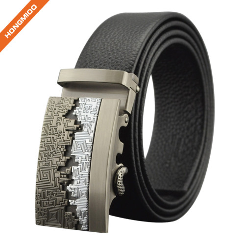 Adjustable Men's Ratchet Black Dress Belts With Automatic Slide Buckle