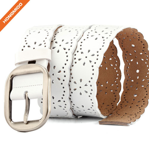 Women's Hollow Flower Genuine Cowhide Leather Belt With Alloy Buckle