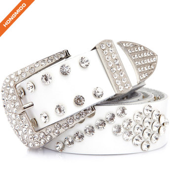 Fashion Women Rhinestone Buckle Belt Split Leather Rivet Jeans Waist Strap
