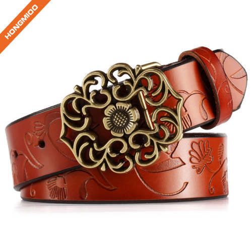 Genuine Leather Belts For Women Cowhide Embossing Design Carving Buckle Plus Size Strap