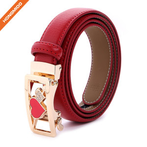 Colorful Split Leather Solid Women Skinny Automatic Buckle Belts