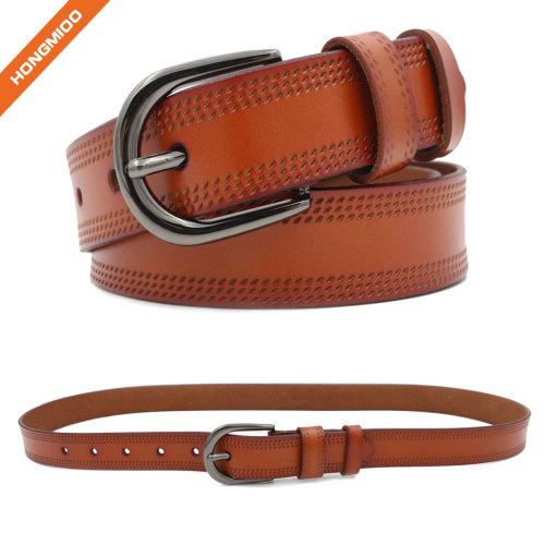 Reversible Women Leather Belt Fashion Adjustable Ladies Belt 1 1/8 Inch Width Solid Pin Buckle Strap