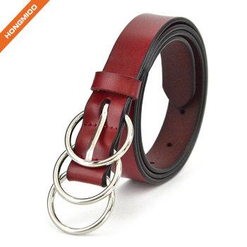 Three-Ring Metal Buckle Strap Lady Skinny Cowhide Genuine Leather Dress Belt