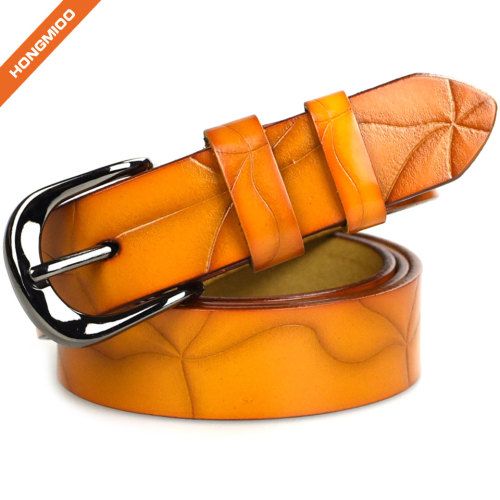 Mix Color Embossed Pattern Women Candy Genuine Leather Pin Buckle Belts
