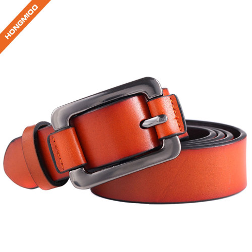 Women Thick Cow Skin Split Genuine Leather Pin Buckle Belts