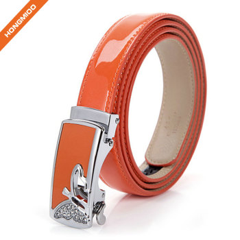 3.3cm Wide Women Shining Color Split Genuine Leather Automatic Ratchet Buckle Belt