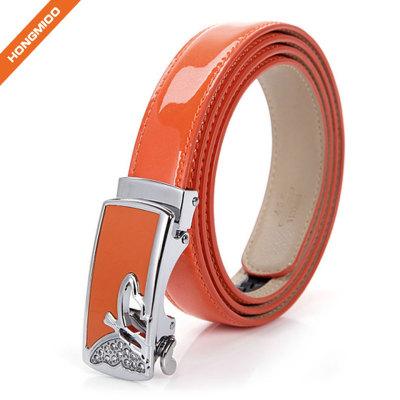 3.3cm Wide Women Shining Color Split Genuine Leather Automatic Ratchet Buckle Belt