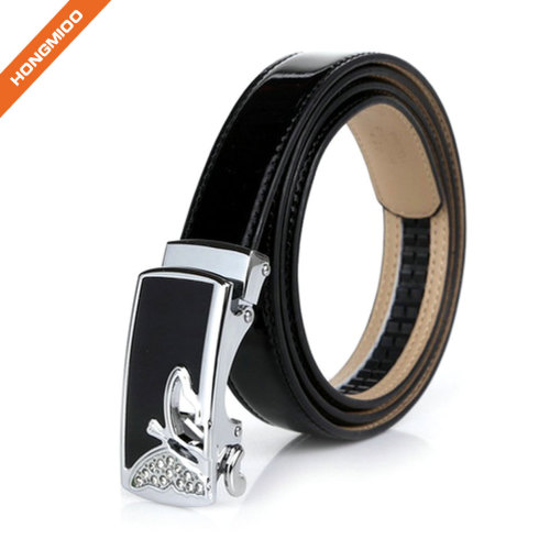 Women Adjustable Leather Waist Belt Skinny Slide Ratchet Automatic Buckle Dress Belts with Alloy Trim to Fit
