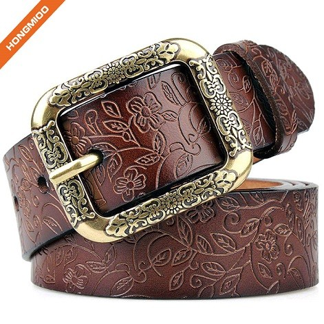 Womens Fashion Vintage Leather Belt With Single Double Flower Buckle