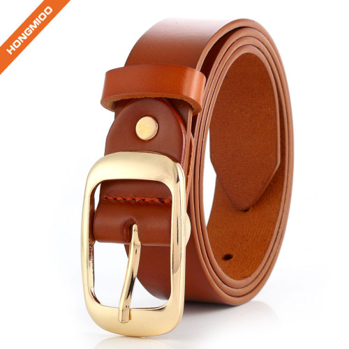 Women's Fully Adjustable Casual Belt with Rounded Buckle