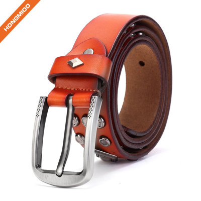 Middle Ages Retro Design Cowhide Leather Rivet Belt With Metal Prong Buckle