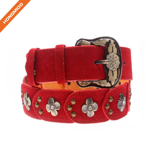 Women Leather Belt For Pants Dress Jeans Suede Waist Belt With Brushed Alloy Buckle